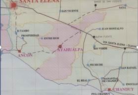 Mapa del Cantón Santa Elena, provincia de S.E.